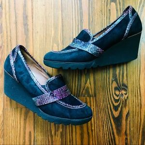 Donald J Pliner Black Suede Loafer Platform Wedges